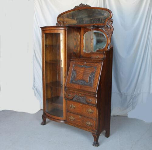 Antique Oak Side by Side Secretary Desk – Original finish - Claw Feet