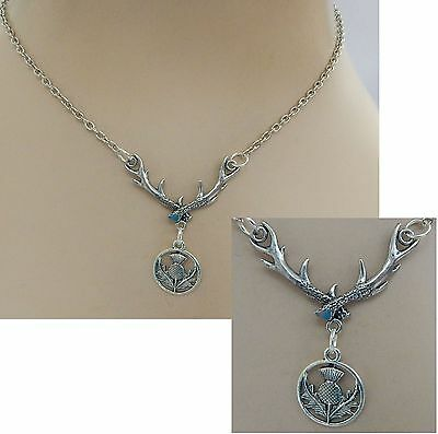 Celtic Scottish Thistle Pendant w/ Antlers Necklace Jewelry Handmade NEW Silver