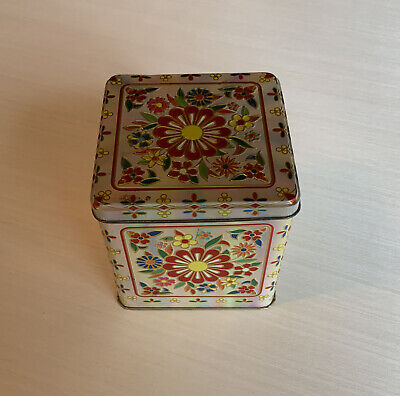 Vintage Square Tin W/Hinged Lid And Floral Design- Container Made In England