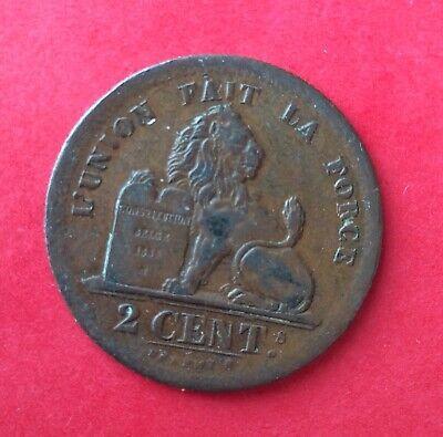 Belgique - Léopold Ier -  Très Jolie monnaie de 2 Centimes 1834  avec point -