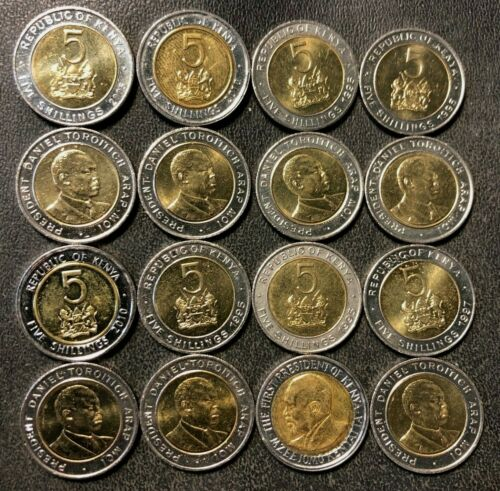 Old KENYA Coin Lot - 16 EXOTIC Uncirculated Bi-Metal Coins  - FREE SHIPPING