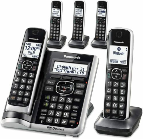 Panasonic Bluetooth Cordless Phone System Answering Machine 5 Handsets Link2Cell