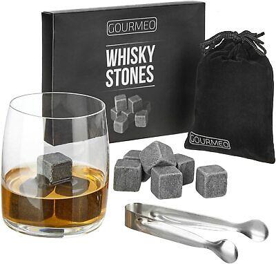 GOURMEO Whisky Steine Whiskey Stones 9 Stück Set + Säckchen + Zange Kühlsteine