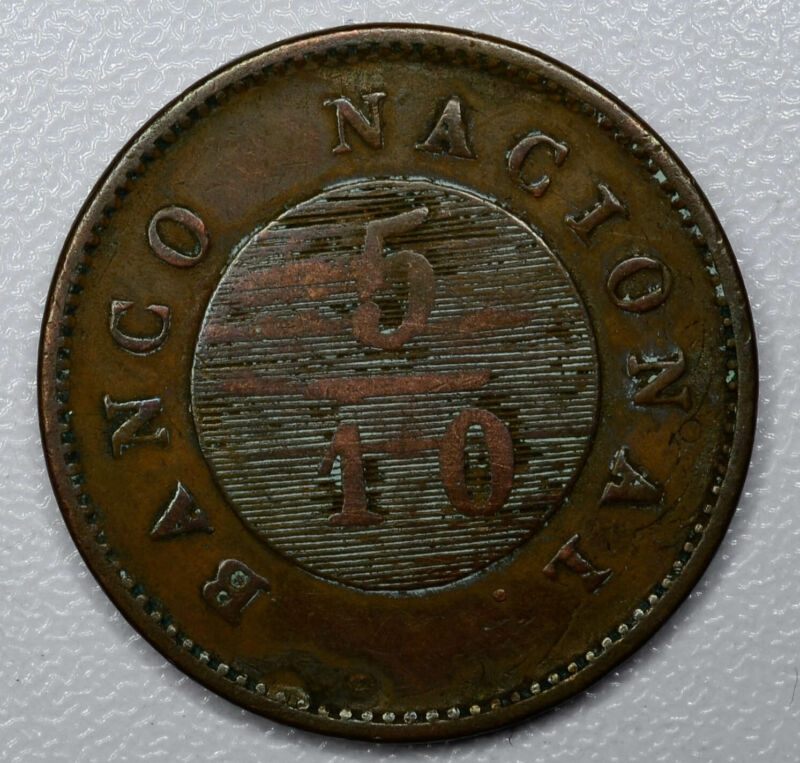 Argentina-Buenos Aires 5/10 Reales 1827 F VF copper KM#3 5/10R Scarce