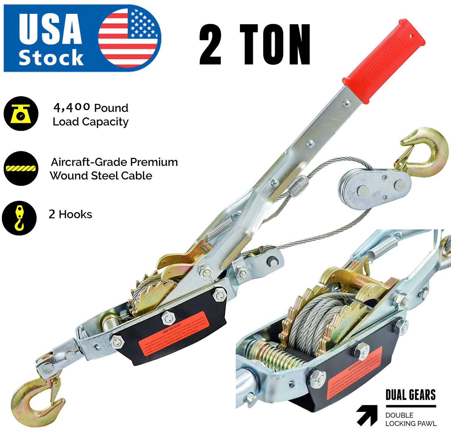 2 Ton Gear Hand Cable Puller Car Trailer Tow Hooks 4400 lbs Come along tighter Business & Industrial