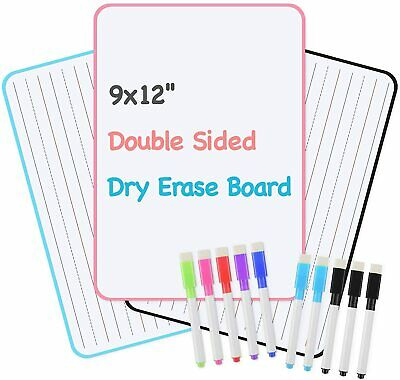 3 Sets Kids Dry Erase White Board Double Sided Portable Lapboard W 10 Markers