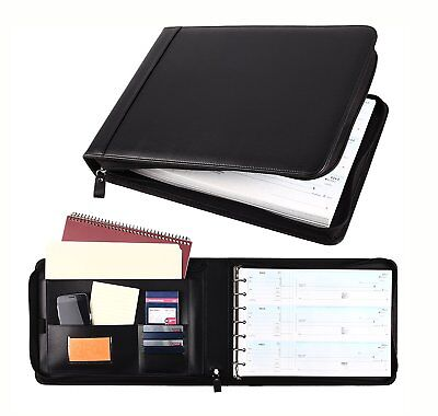 7 Ring Business Check Book Binder 3-on-a-page Zippered Leather Look 5 Colors New