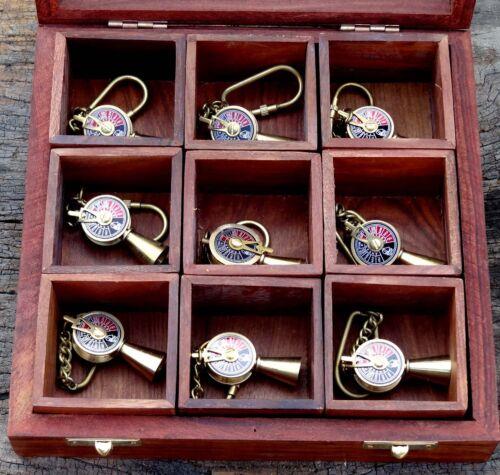 Nautical Brass Telegraph Key Chain Vintage Ship Engine Room Telegraph Key Ring