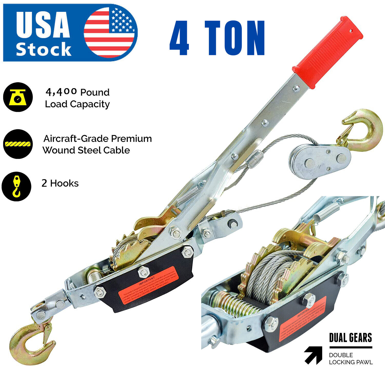 4 Tons 8800lbs Hook Come A Long Winch Hoist Hand Cable Puller Lever Durable Tool Business & Industrial