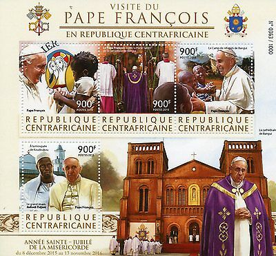 Central African Rep 2015 MNH Pope Francis Visit 4v M/S Koudoukou Mosque Stamps