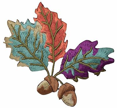 Two Acorns - Colorful Leaves - Fall - Tree - Iron on Applique/Embroidered Patch