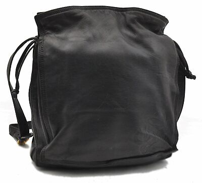 Authentic LOEWE Leather Shoulder Bag Black A8167
