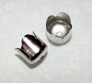 50x Silver tulip flower end/bead cones - perfect for tassel caps - 6mmx6.5mm