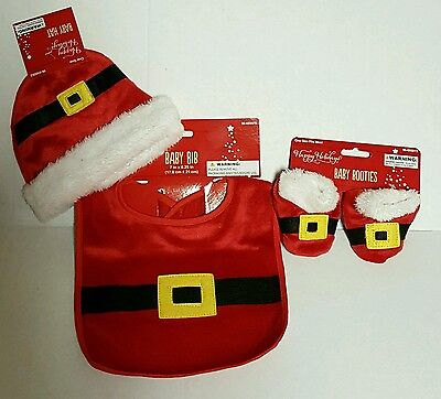 3pcs Baby Boy Girls Christmas Santa COSPLAY Hat+Bib+Booties Set Costume 0-3 mo. (Baby Boy Santa Costume)