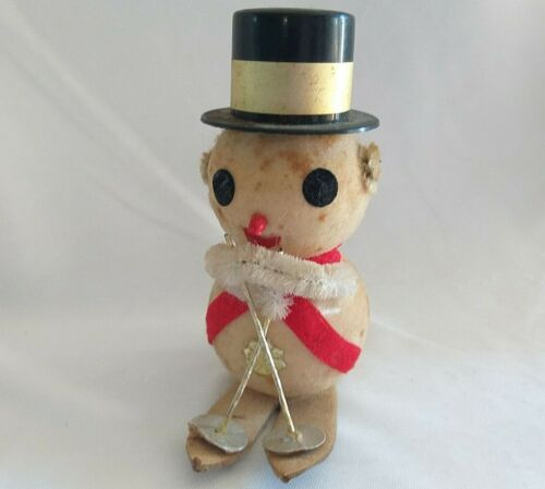Antique Spun Cotton Snowman Figure SNOW SKIS Chenille Arms CHRISTMAS HOLIDAY