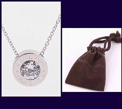 MICHAEL KORS Bezel Set Crystal Silver Tone Logo Pendant Necklace W/MK Pouch-NEW!