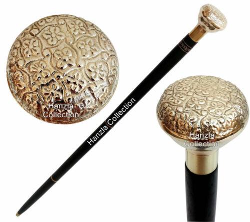 Vintage Brass Embose Knob Design Head Handle Antique Wooden Walking Stick Cane