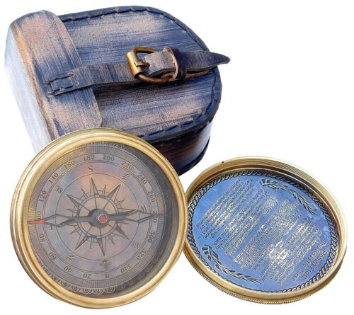 """3"""" Vintage Nautical Brass Pocket Compass Transit Compass With Leather Case."""