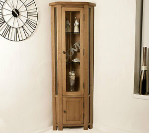 Solid-Oak-Corner-Display-Cabinet-Glazed-Cupboard-Home-Rustic-Furniture