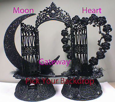 Design your Wedding Cake Topper Black Gateway Moon Heart Base Backdrop Halloween
