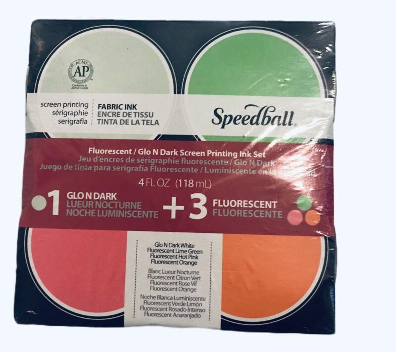 Fabric screen print paint Speedball Red Orange Green Glo In Dark 4oz  pack set
