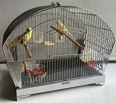 Vintage Mid Century Art Deco Chrome Hendryx Bird Cage RARE Glass Feeders Extras