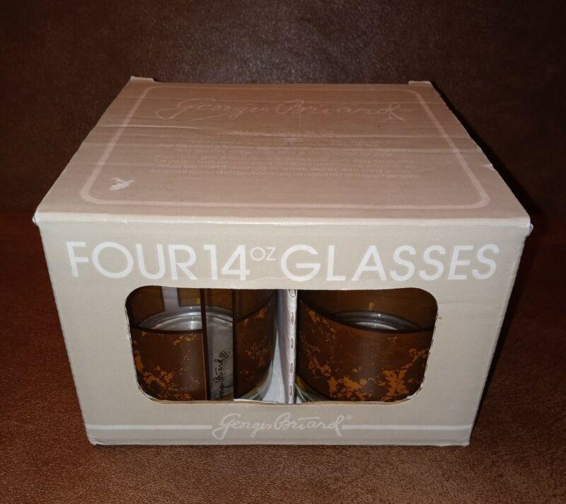 Vintage Georges Briard Highball Glasses 14oz Tortoise signed Barware NIB Set 4