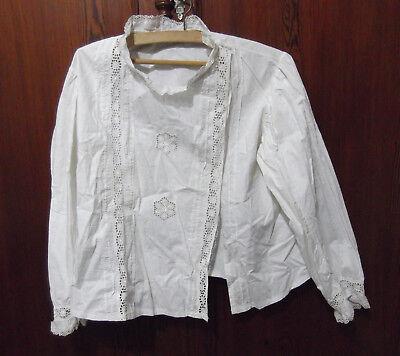 Antigua camisa bordada, blusa de mujer o niña, circa 1900 Hilo Blanco