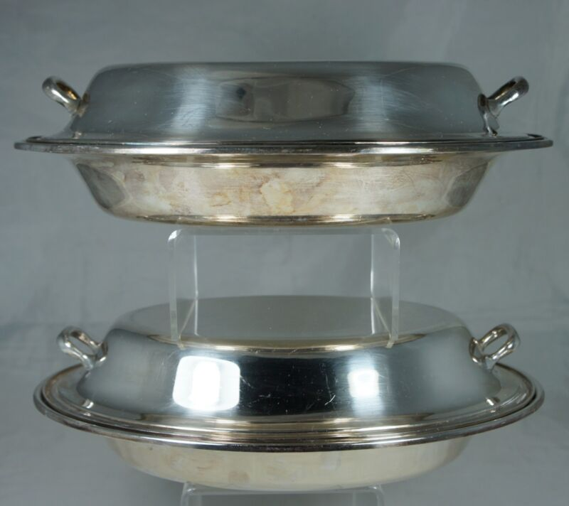 VINTAGE SILVER PLATED OVAL DISH/BOWL/CASSEROLE W/ LID,GORHAM,PAIR