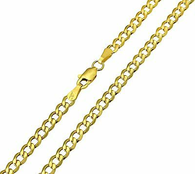 """14K Real Yellow Gold 3.4mm Concave Curb Cuban Hollow Chain Necklace 22"""" Inches"""
