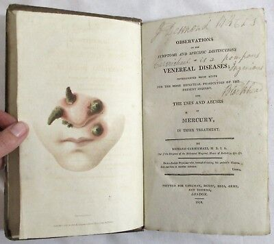 RARE Antique 1818 OBSERVATIONS OF VENEREAL DISEASES Mercury MEDICAL Carmichael