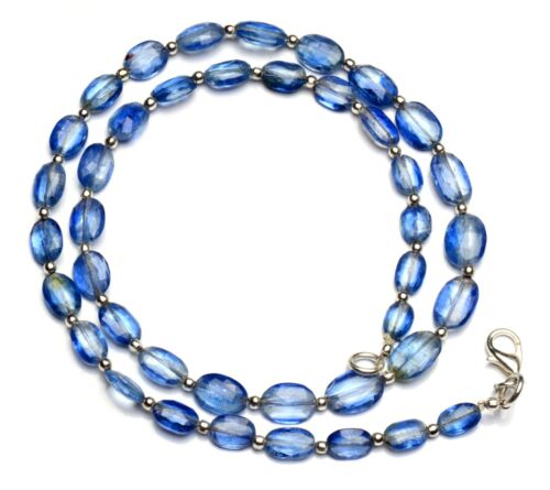 """Natural Gem Kyanite 7x5 to 10x7mm Faceted Oval Shape Nugget Beads Necklace 18"""""""