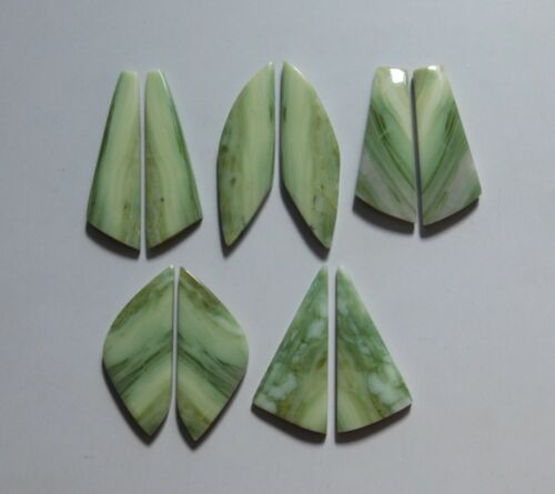 198.35 Cts Natural Serpentine Stone 5 Pair Lot Cabochon Match Pair