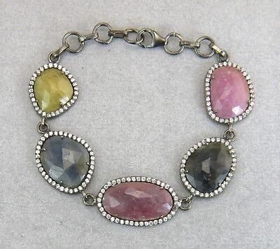 Genuine Fancy Sapphire Burnished 925 Silver Adjustable Bracelet - Art Deco Style