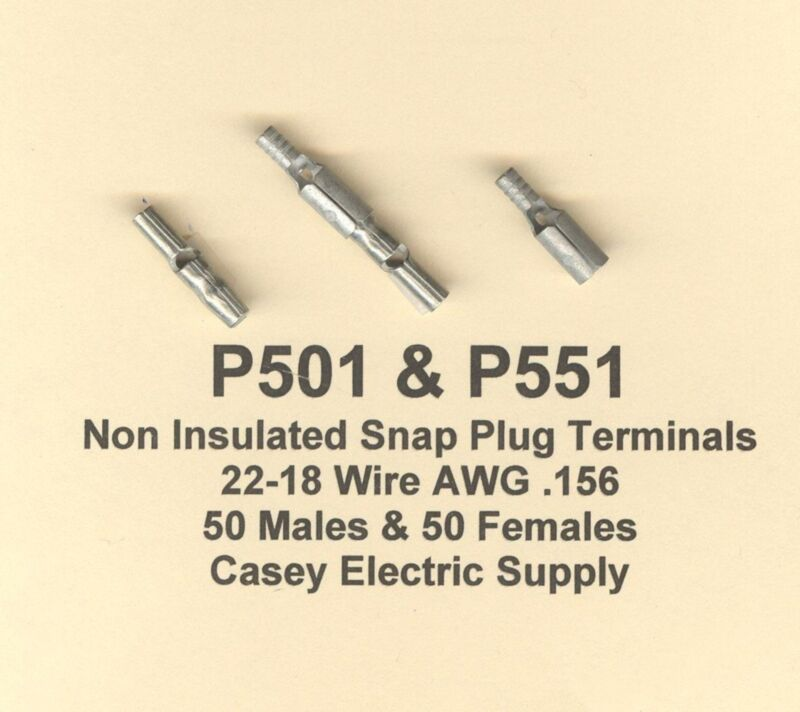 100 Non Insulated Snap Plug Terminal 50 Male & 50 Female #22-18 Wire Gauge .156