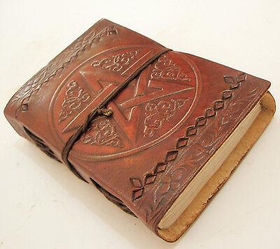 Handmade Paper Leather Bound Journal Diary Blank Pentagram Book of Shadows -