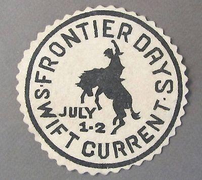 rare circa 1939 FRONTIER DAYS SWIFT CURRENT Sask. Canada shirt jacket PATCH