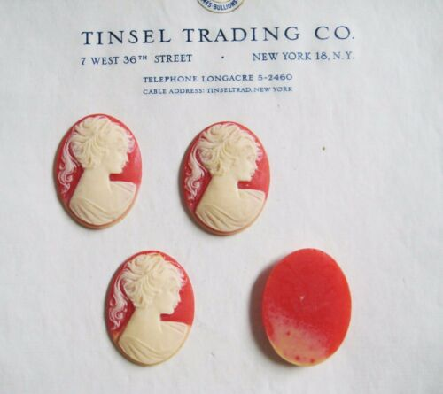 6 pcs Vintage/Antique NEVER USED West Germany Coral/Cream Cameo