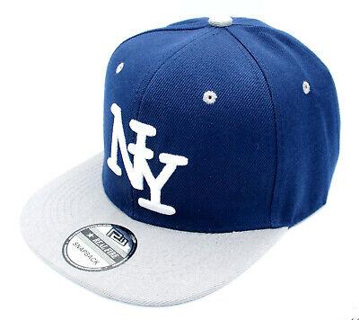 Snapback Kappe Cappy Sommer New York Cap Mütze Herren NY Navyblau Grau flach  Snap Brim Hut