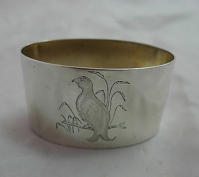 Oval Silver Napkin Ring Hunting Birds 1964