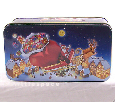 Santa Claus Tin Xmas Embossed Empty Can Box Container By Oebel Marzipanstollen