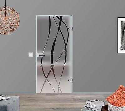 Glas Tür Innentür Zimmertür Ganzglas Drehtür matt + Dekor M6 584.709.834.959