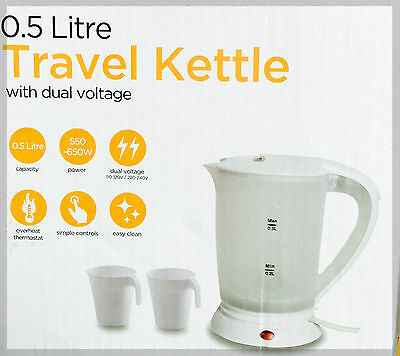 NEW 0.5LITRE DUAL VOLTAGE SMALL ELECTRIC TRAVEL KETTLE IN WHITE COLOUR + 2 CUPS