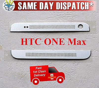 Echt HTC One Max 803s Oben+Unten Front Kamera Abdeckung Silber mit