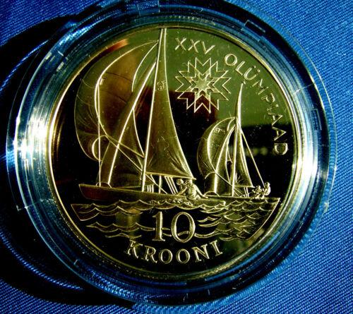 Estonia 10 KROONI Silver 1992 Barcelona Olympics Commemorative