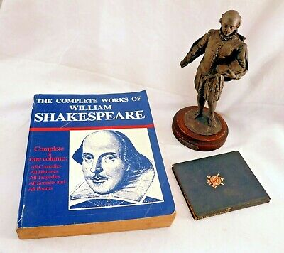 Antique Spelter Shakespeare Statue, Tempest Book 1948 + Complete Works 1983
