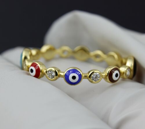 Women 925 sterling silver Color Round CZ Lucky Gold Evil Eye Hand Ring 5-9