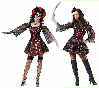 Piraten Kostüm Damen Dia de los Muertes Gr.36-46 Pirat Halloween Fasching Mexiko