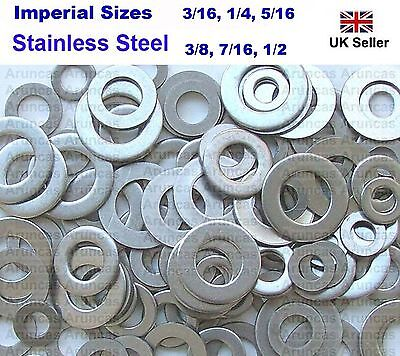 3/16,1/4,5/16,3/8,7/16.1/2 Stainless Steel FLAT Washers - Imperial Sizes x200