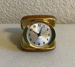 Vintage Westclox Travel Ben Windup Alarm Clock in Case - 7 Jewels - Japan